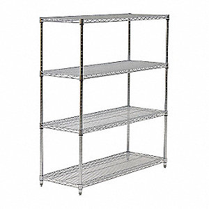 "Wire Shelving,Starter,54"" H,Chrome"