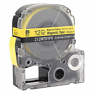 "Indoor/Outdoor Magnetic Polyester Magnetic Tape Cartridge, Black on Yellow, 1/2""W x 11 ft."