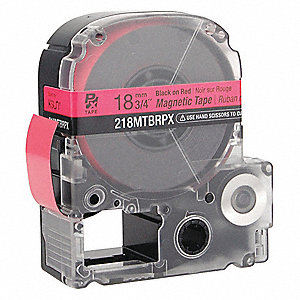 "Indoor/Outdoor Magnetic Polyester Magnetic Tape Cartridge, Black on Red, 3/4""W x 11 ft."