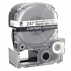 "Indoor/Outdoor Magnetic Polyester Magnetic Tape Cartridge, Black on White, 1""W x 11 ft."