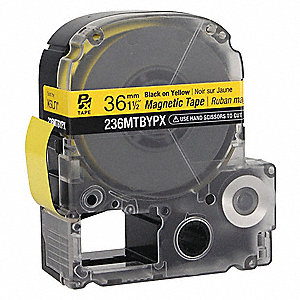 "Indoor/Outdoor Magnetic Polyester Magnetic Tape Cartridge, Black on Yellow, 1-1/2""W x 11 ft."