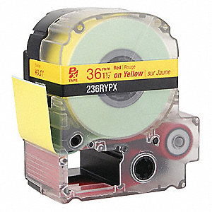 "Indoor/Outdoor Polyester Label Cartridge, Red on Yellow, 1-1/2""W x 30 ft."