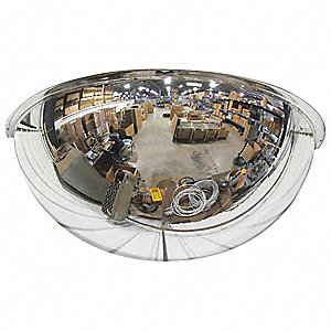 Half Dome Mirror,36 in,Scratch Resistant