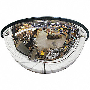 "18""-dia. Acrylic 180° Half Dome Mirror with 380 sq. ft. Approx. Viewing Distance"
