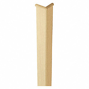 "Corner Guard, Plastic, 48"" Height, 2"" Width, 0.080"" Thickness, Natural Maple"