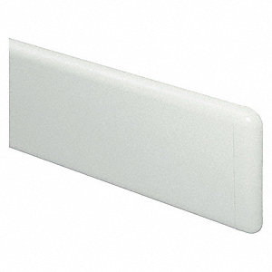 "Wall Guard, Designer White, Plastic/Aluminum, 144"" Length, 7-3/4"" Height, 1"" Thickness"