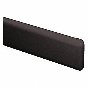 "Black End Cap, Screw In, Molded Plastic, Width 1-1/4"", Height 4"", Thickness 1"""