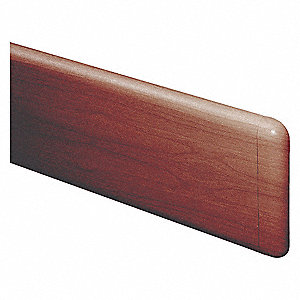 "Wall Guard, Boston Cherry, Plastic/Aluminum, 144"" Length, 7-3/4"" Height, 1"" Thickness"