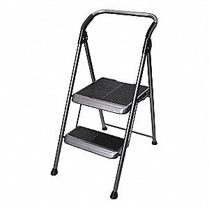 "Steel Folding Step, 44"" Overall Height, 250 lb. Load Capacity, Number of Steps: 2"