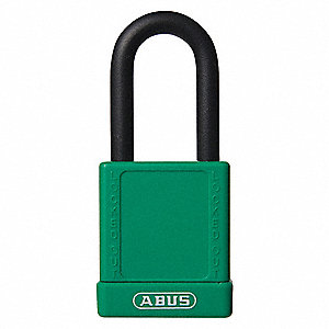 Green Lockout Padlock, Alike Key Type, Aluminum Body Material, 6 PK