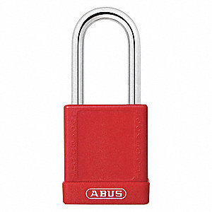 Red Lockout Padlock, Different Key Type, Aluminum Body Material, 6 PK