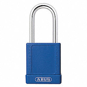 Blue Lockout Padlock, Different Key Type, Aluminum Body Material, 6 PK