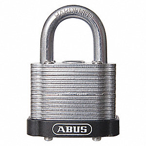 "Alike-Keyed Padlock, Open Shackle Type, 2"" Shackle Height, Black"