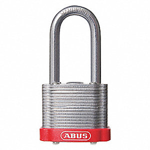 "Alike-Keyed Padlock, Open Shackle Type, 3"" Shackle Height, Red"