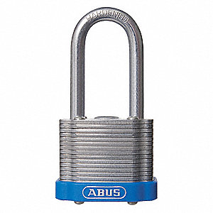 "Different-Keyed Padlock, Open Shackle Type, 3"" Shackle Height, Blue"