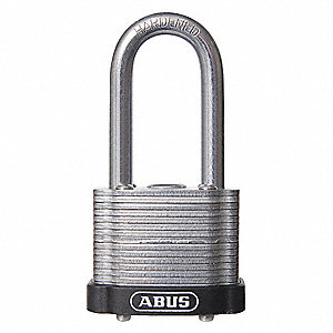 "Alike-Keyed Padlock, Open Shackle Type, 3"" Shackle Height, Black"