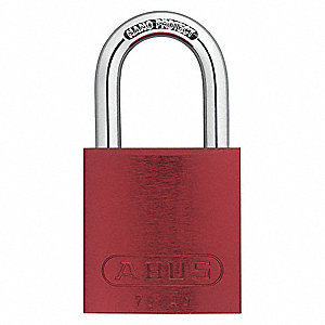Red Keyed Padlock, Different Key Type, Aluminum Body Material
