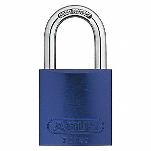 "Different-Keyed Padlock, Open Shackle Type, 3/4"" Shackle Height, Blue"