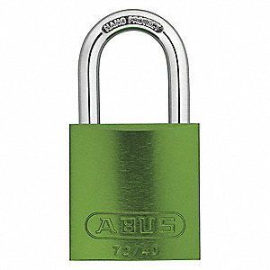 "Different-Keyed Padlock, Open Shackle Type, 1-1/2"" Shackle Height, Green"