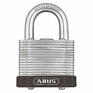 "Different-Keyed Padlock, Open Shackle Type, 3/4"" Shackle Height, Brown"