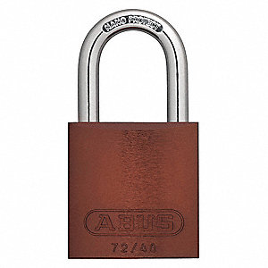 "Different-Keyed Padlock, Open Shackle Type, 1-1/2"" Shackle Height, Brown"