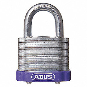 "Alike-Keyed Padlock, Open Shackle Type, 2"" Shackle Height, Purple"