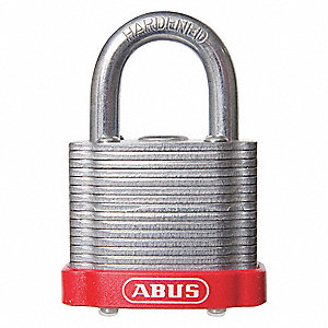 "Different-Keyed Padlock, Open Shackle Type, 2"" Shackle Height, Red"