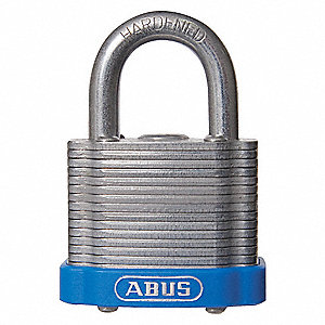 "Different-Keyed Padlock, Open Shackle Type, 2"" Shackle Height, Blue"