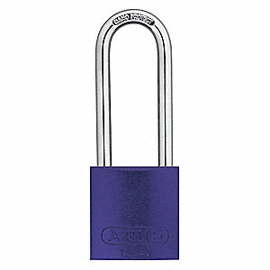 "Alike-Keyed Padlock, Open Shackle Type, 3"" Shackle Height, Purple"