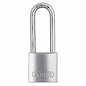 "Different-Keyed Padlock, Open Shackle Type, 3"" Shackle Height, Silver"