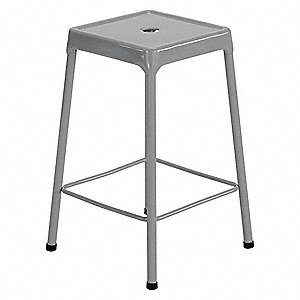 Square Stool and 250 lb. Weight Capacity, Silver