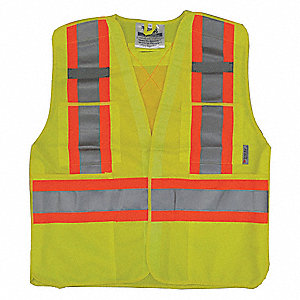 Yellow/Green with Silver Stripe Breakaway Vest, ANSI 2, Hook-and-Loop Closure, 2XL/3XL