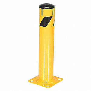 "24"" Fixed Steel Bollard with 4-1/2"" Outside Dia., Yellow"