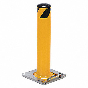 "24"" Removable Steel Bollard with 4-1/2"" Outside Dia., Yellow"
