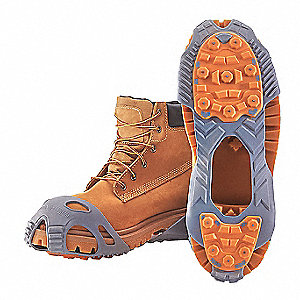 Unisex Rubber and Tungsten Carbide Ice Cleats, Gray/Orange , Size L