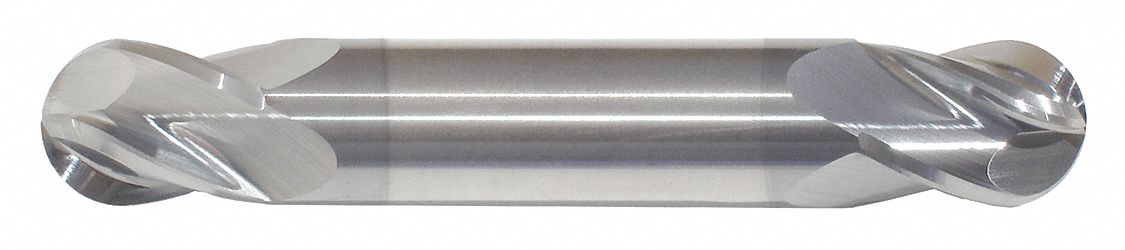 Ball End Mill,  3/16 in,  Carbide,  TiCN,  Non-Coolant Through