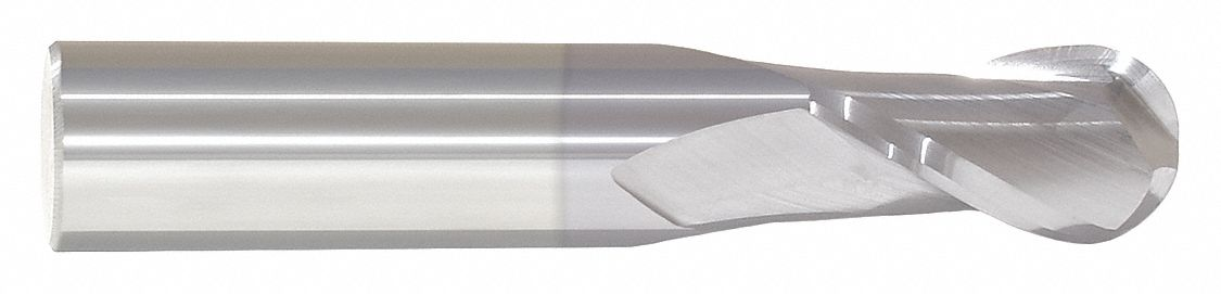 Ball End Mill,  13/64 in,  Carbide,  TiCN,  Non-Coolant Through