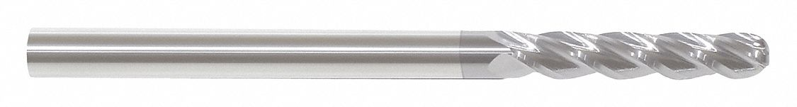 Ball End Mill,  1/4 in,  Carbide,  TiCN,  Non-Coolant Through