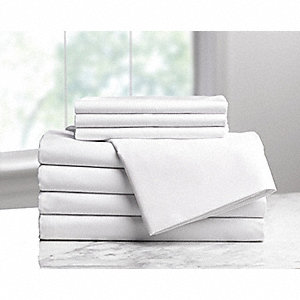 Twin T200 Thread Count Flat Sheet, White; PK6