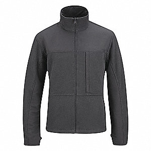 "Tactical Full Zip Sweater, 3XL Fits Chest Size 54"" to 56"", Charcoal Color"