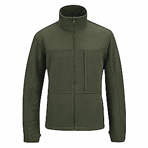 "Tactical Full Zip Sweater, 2XL Fits Chest Size 50"" to 52"", Olive Color"