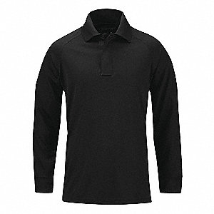 Performance Long Sleeve Polo,L,Black