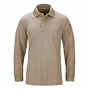 Long Sleeve Polo,S,Silver Tan