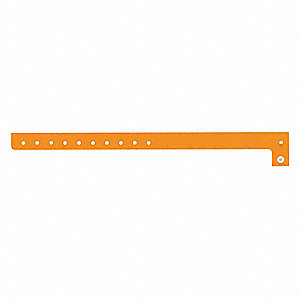 ID Wristband, Orange, 5/8 in. W, PK500