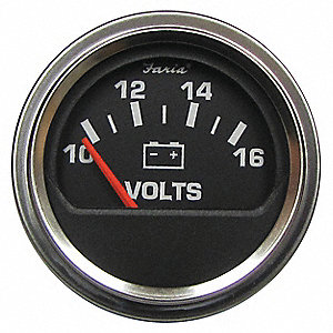 Engine Voltmeter Gauge,2in.Dia. SS Trim