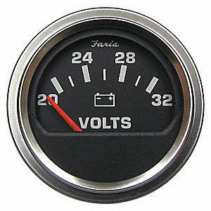Engine Voltmeter Gauge,2in. Dia.,14-32V.