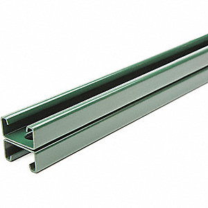 "Slotted Back to Back 1-5/8"" x 1-5/8"" Strut Channel, Green Painted Steel, 14 ga., 1 ft. 6"""