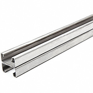 "Slotted Back to Back 1-5/8"" x 1-5/8"" Strut Channel, 304 Stainless Steel, 14 ga., 4 ft."