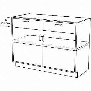 "42"" x 21-5/8"" x 35-1/4"" Steel Base Cabinet, Pearl White"