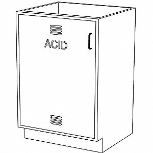 "24"" x 21-5/8"" x 35-1/4"" Steel Acid Cabinet, Pearl White"